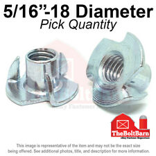 "5//16/""-18 x 3//8/"" Coarse Thread Tee Nut 4 Prong Zinc Plated"