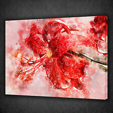 BEAUTIFUL RED LILY FLOWER MODERN WALL ART CANVAS PRINT PICTURE READY TO HANG