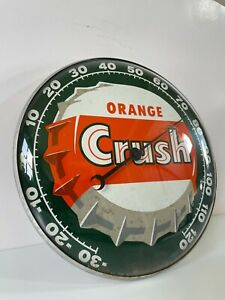 58 NY Pam Orange Crush Advertising Thermometer Sign Glass Bubble Front - Rare