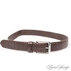 LNWOT Cole Haan Brown Basketweave Intreccio Basketweave Wide Leather Belt 36 #8
