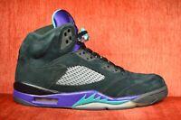 "CLEAN Nike Air Jordan V 5 ""Black Grape"" 136027-007 Blk/New Emrld Size 11"