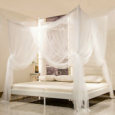 4 Corner Mosquito Net Lace Bed Canopy Princess Elegant Netting Twin to King Size