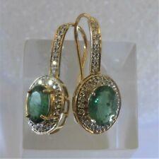 NEU Natürlicher Smaragd Diamant Ohrringe Ohrstecker 3,214 ct 585er Gelbgold
