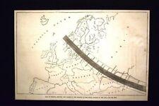 Mappa dell'Europa - Eclissi totale del sole 28 luglio 1851 Incisione del 1851