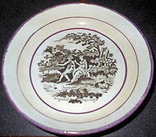 Antique Shepherds English Staffordshire Pink Lustre Bat Printed Tw Sipper Saucer