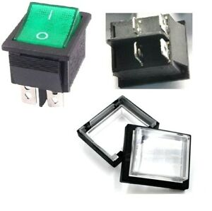 Rocker Switch 16A Green ON-OFF Double Pole 4 Pin 240V & Weatherproof Cover