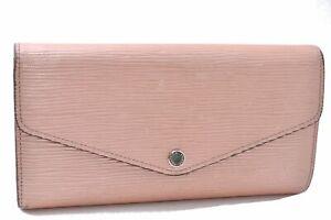 Authentic Louis Vuitton Epi Portefeuille Sarah Long Wallet Pink M60724 LV D2530