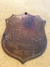 Exonumia: 1892 400th Anniversary Discovery of America Medallion (D019-1019)