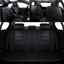 BLACK PU Leather Auto Car Seat Covers 5 Seats Protector Cushion Mat Universal