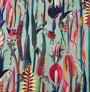 Calla Tropical Lily Aqua / Pink Soft Velvet   Curtain/Upholstery Fabric