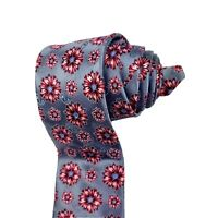 ERMENEGILDO ZEGNA Neck Tie Metallic Geometric Floral 100% Silk MADE IN ITALY EUC