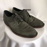 Mens ECCO GRAY Suede Leather Oxford Wingtip Casual Dress Shoes SZ 43 ~ 10 US