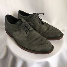 Mens 10 ECCO GRAY Suede Leather Oxford Wingtip Casual Dress Shoes SZ 43