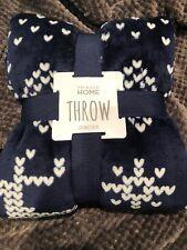 Fleece Primark Christmas Throw Blanket Navy Blue & White Heart Print Reindeer