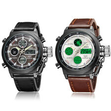 OHSEN Militär Sport Edelstahl Herren Analog Digital Quarz Leder Armband Uhr