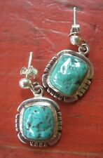 Vintage Navajo Native Southwest Turquoise Sterling Silver Earrings Signed DL