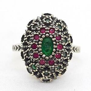 Deco .70ctw Emerald, Ruby & Diamond Cut White Sapphire 14K Yellow Gold 925 Ring