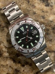 40mm Submariner Yachtmaster Dive Watch With Seiko 7002 Dial Mod Oyster Band