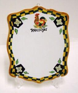 Ganz Bella Casa Ceramic Message Memo Board Rooster Country Wall Hanging