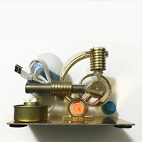 NEW Mini Hot Air Stirling Engine Motor Model Educational Toy Kit &LED Light