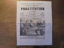 """ancienne publicité pour le livre """"HISTOIRE DE LA PROSTITUTION"""" avec 2 gravures"""