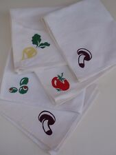 Vintage Set 5 Silkscreen Dinner Napkins Vegetables Off White Cotton Canvas Used