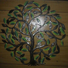 Metal Tree of Life with Green Leaves Drum Wall Art Haitian Handmade Art Sale 24""