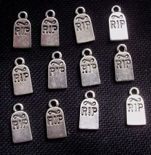 8 rip tombstone pierre tombale charms halloween gothique ton argent métal 16mm