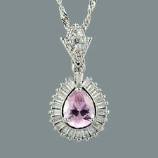 18K White Gold Plated Pink Sapphire Gem Stone Slide Pendant Necklace Curb Chain