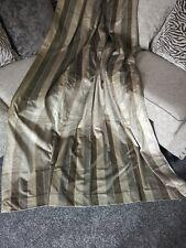 """Rare NEXT 90""""x90"""" VELVET Stripe LUXURY Mink brown Beige Grey Eyelet Curtains"""
