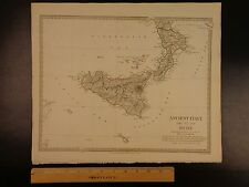 1844 BEAUTIFUL Huge Color MAP of Southern Ancient Italy Sicily ATLAS