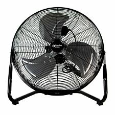 Comfort Zone CZHV20BK 20-inch 3-Speed High-Velocity Floor Fan with 360-Degree Ad