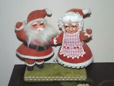 Vintage 1960's Santa & Mrs. Claus Flocked Plastic Christmas Decoration Hong Kong