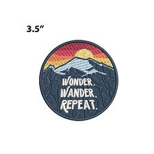 New ListingWonder Wander Repeat - Mountains Embroidered Patch Iron-on / Sew-on Applique