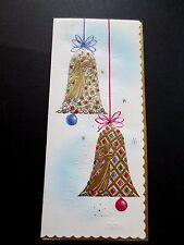 #K450- Vintage Unused Xmas Greeting Card Gold Embossed Ornate Holiday Bells