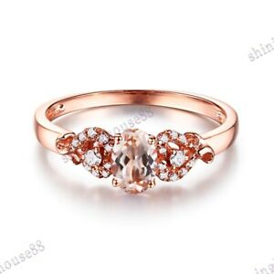 14k Rose Gold Oval 6X4mm Morganite SI Diamonds Engagement Gift Ring Fine Jewelry