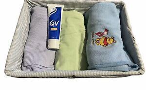 Bundle Blankets Winnie The Pooh Muslin Minko Basket QV Cream Green Blue Disney