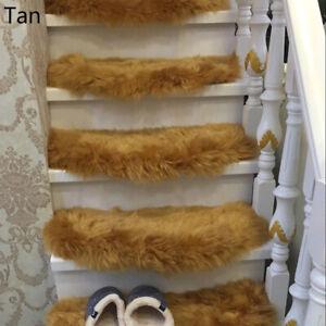 1 X Plush Arc Stair Treads Faux Wool Carpet Mat Step Staircase Non-slip Rug Home