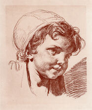 "Lovely Jean-Baptiste GREUZE 1800s Antique Print ""Sweet Child's Head"" FRAMED COA"