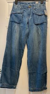 Free People We The Free Front Pocket Wide Leg Trouser Jeans Blue W24 UK 6 XS New