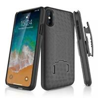 For iPHONE X XS (5.8) - HARD SHELL CASE SWIVEL BELT CLIP HOLSTER COVER KICKSTAND