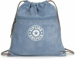 Kipling SUPERTABOO Medium Drawstring Bag - Washed Bl Denim