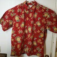 PIERRE CARDIN Hawaiian Pineapples Red Shirt XL