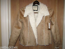NEW* Billabong S BLAZER COAT JACKET TOP SHIRT $100 RV Sherpa Lined TAN Off White