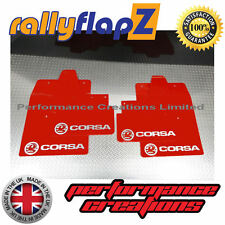 Rally Mudflaps VAUXHALL CORSA C (00-07) Mud Flaps Red Logo Silver 4mm PVC Qty 4
