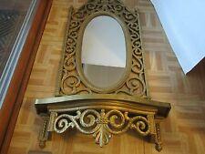 """31 x 17"""" Ornate Syroco Oval Wall Mirror & WALL SHELF Hall Hollywood Regency 1969"""