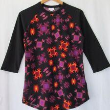 LuLaRoe RANDY size S bright geometric print top 3/4 length sleeves black purple!