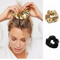 2PCS Frauen Kunstleder elastische Haargummis Mädchen Haarband Seil Pferdeschwanz