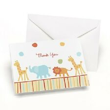 Jungle Animal Baby Shower Thank You Notes 25/pk with Envelopes
