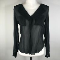 Aritizia T Babaton Blouse Shirt Top Womens S Silk Black Sheer V Neck Long Sleeve